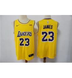 Men Los Angeles Lakers Lebron James 23 Yellow 2021 Game Swingman Round Neck NBA Jersey