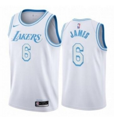 Men Los Angeles Lakers Lebron James 6 Number 2021 2022 City White Jersey