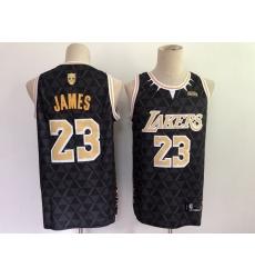 Men Men Los Angeles Lakers 23 LeBron James Black Panther Limiter Stitched NBA Jersey