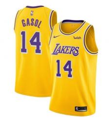 Men Nike Los Angeles Lakers 14 Marc Gasol Gold NBA Swingman Icon Edition Jersey