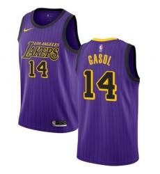 Men Nike Los Angeles Lakers 14 Marc Gasol Purple NBA Swingman City Edition 2018 19 Jersey
