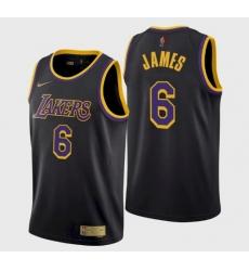 Men's Los Angeles Lakers LeBron James #6 Jersey Black Earned 2021-22