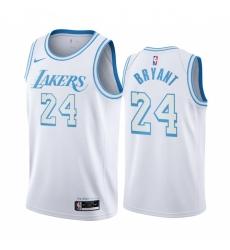 Men Los Angeles Lakers Kobe Bryant 24  White 2020-21 City Edition Nike Swingman Jersey