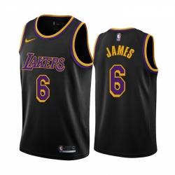 Women Los Angeles Lakers 6 LeBron James Black Women NBA Swingman 2020 21 Earned Edition Jersey