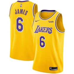 Women Nike Los Angeles Lakers 6 LeBron James Gold Women NBA Swingman Icon Edition Jersey