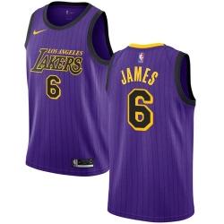 Women Nike Los Angeles Lakers 6 LeBron James Purple Women NBA Swingman City Edition 2018 19 Jersey