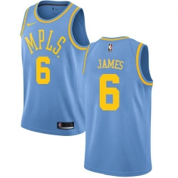 Women Nike Los Angeles Lakers 6 LeBron James Royal Blue Women NBA Swingman Hardwood Classics Jersey