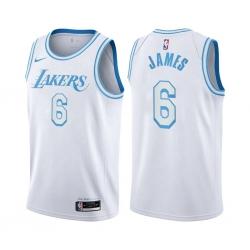 Women Nike Los Angeles Lakers 6 LeBron James White Women NBA Swingman 2020 21 City Edition Jersey