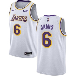 Women Nike Los Angeles Lakers 6 LeBron James White Women NBA Swingman Association Edition Jersey