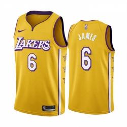 Women Nike Los Angeles Lakers 6 Lebron James Women Unveil 2019 20 City Edition Swingman NBA Jersey Yellow