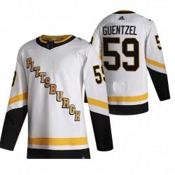 Men Pittsburgh Penguins 59 Jake Guentzel White Adidas 2020 21 Reverse Retro Alternate NHL Jersey