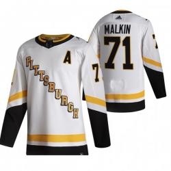 Men Pittsburgh Penguins 71 Evgeni Malkin White Adidas 2020 21 Reverse Retro Alternate NHL Jersey