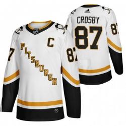 Men Pittsburgh Penguins 87 Sidney Crosby White Adidas 2020 21 Reverse Retro Alternate NHL Jersey