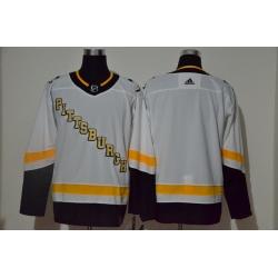 Men Pittsburgh Penguins Blank White 2020 21 Reverse Retro Adidas Jersey