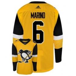 Men u2019s Pittsburgh Penguins 6 Marino Gold Authentic Stitched Hockey Jersey