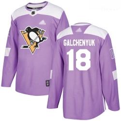 Penguins #18 Alex Galchenyuk Purple Authentic Fights Cancer Stitched Hockey Jersey