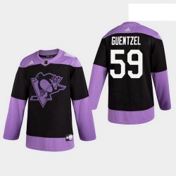 Penguins 59 Jake Guentzel Fights Cancer Practice Black Jersey