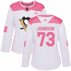 Womens Adidas Pittsburgh Penguins 73 Jack Johnson Authentic White Pink Fashion NHL Jersey