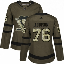 Womens Adidas Pittsburgh Penguins 76 Calen Addison Authentic Green Salute to Service NHL Jersey