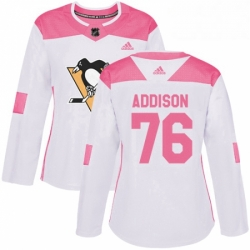 Womens Adidas Pittsburgh Penguins 76 Calen Addison Authentic White Pink Fashion NHL Jersey