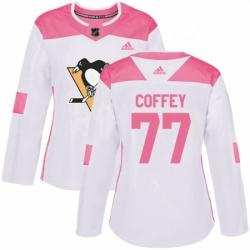 Womens Adidas Pittsburgh Penguins 77 Paul Coffey Authentic WhitePink Fashion NHL Jersey