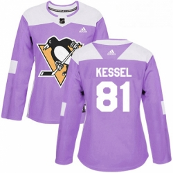 Womens Adidas Pittsburgh Penguins 81 Phil Kessel Authentic Purple Fights Cancer Practice NHL Jersey