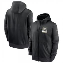 Men New Orleans Saints Nike Sideline Impact Lockup Performance Full Zip Hoodie Black