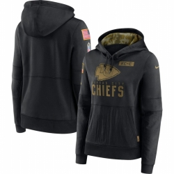 Women Kansas City Chiefs Nike 2020 Salute to Service Performance Pullover Hoodie Black
