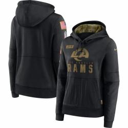 Women Los Angeles Rams Nike 2020 Salute to Service Performance Pullover Hoodie Black
