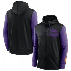 Men Minnesota Vikings Black Purple Fan Gear Mascot Performance Full Zip Hoodie
