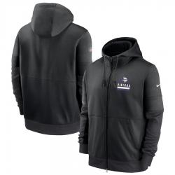 Men Minnesota Vikings New 2020 Nike Gray Black Fan Gear Mascot Performance Full Zip Hoodie