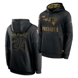 Men New England Patriots 24 Stephon Gilmore 2020 Salute To Service Black Sideline Performance Pullover Hoodie