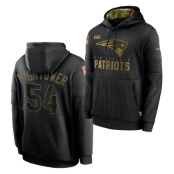 Men New England Patriots 54 Dont 27a Hightower 2020 Salute To Service Black Sideline Performance Pullover Hoodie
