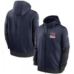 Men New England Patriots New 2020 Nike Navy Gray Fan Gear Mascot Performance Full Zip Hoodie