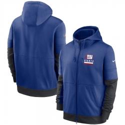 Men New York Giants New 2020 Nike Royal Black Fan Gear Mascot Performance Full Zip Hoodie