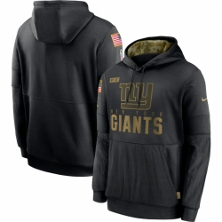 Men New York Giants Nike 2020 Salute to Service Sideline Performance Pullover Hoodie Black