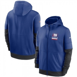 Men New York Giants Nike Sideline Impact Lockup Performance Full Zip Hoodie Royal