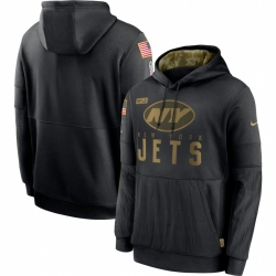 Men New York Jets Nike 2020 Salute to Service Sideline Performance Pullover Hoodie Black