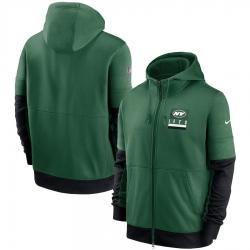 Men New York Jets Nike Sideline Impact Lockup Performance Full Zip Hoodie Green