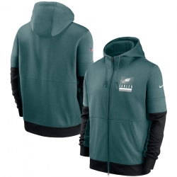Men Philadelphia Eagles New 2020 Nike Green Black Fan Gear Mascot Performance Full Zip Hoodie