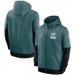 Men Philadelphia Eagles Nike Sideline Impact Lockup Performance Full Zip Hoodie Midnight Green