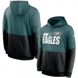Men Philadelphia Eagles Nike Sideline Impact Lockup Performance Pullover Hoodie Midnight Green Black