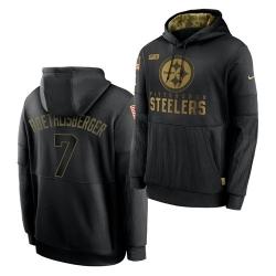 Men Pittsburgh Steelers 7 Ben Roethlisberger 2020 Salute To Service Black Sideline Performance Pullover Hoodie