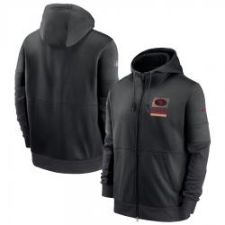 Men San Francisco 49ers Nike Sideline Impact Lockup Performance Full Zip Hoodie Black