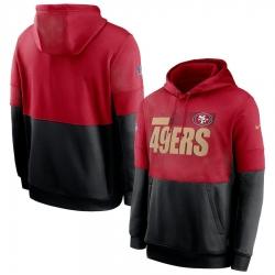 Men San Francisco 49ers Nike Sideline Impact Lockup Performance Pullover Hoodie Scarlet Black