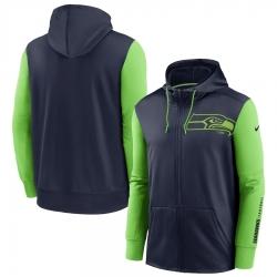 Men Seattle Seahawks College Navy Neon Green Fan Gear Mascot Performance Full Zip Hoodie