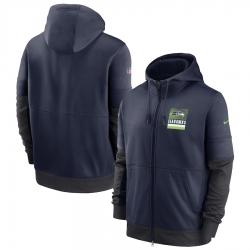 Men Seattle Seahawks New 2020 Nike Gray Black Fan Gear Mascot Performance Full Zip Hoodie