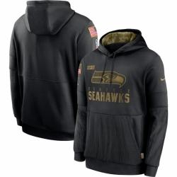 Men Seattle Seahawks Nike 2020 Salute to Service Sideline Performance Pullover Hoodie Black