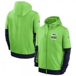 Men Seattle Seahawks Nike Sideline Impact Lockup Performance Full Zip Hoodie Neon Green