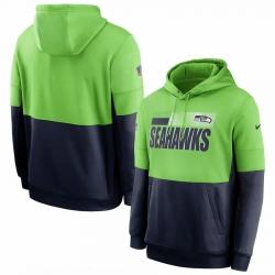 Men Seattle Seahawks Nike Sideline Impact Lockup Performance Pullover Hoodie Neon Green College Navy